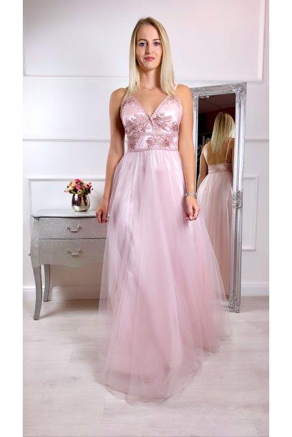 NADINE dámske dlhé spoločenské šaty svetloružové