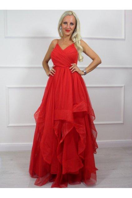 Sheryl - dámske dlhé spoločenské šaty - červené