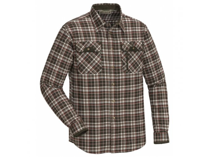 Flanelová košile Pinewood Prestwick exclusive - Bílo/Hnědá
