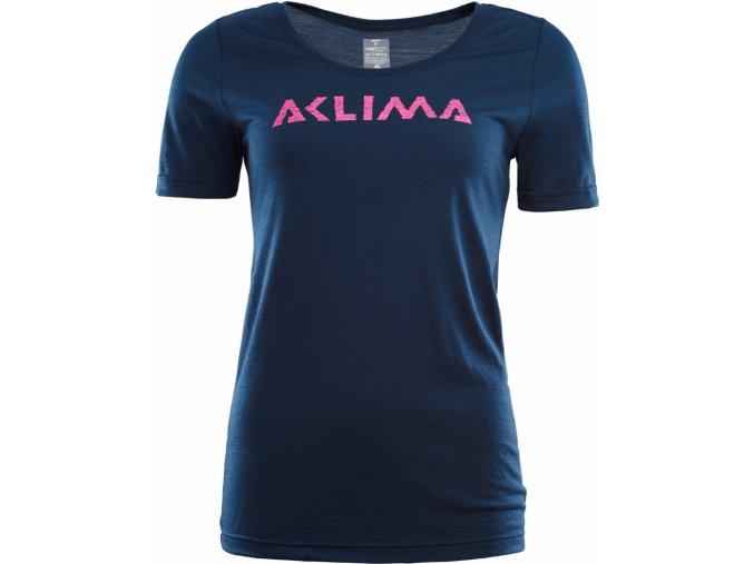 Dámské vlněné tričko Aclima LightWool LOGO - Insignia Blue