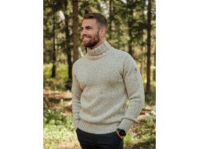 1329 devold nansen klasicky teply svetr s rolakem grey melange