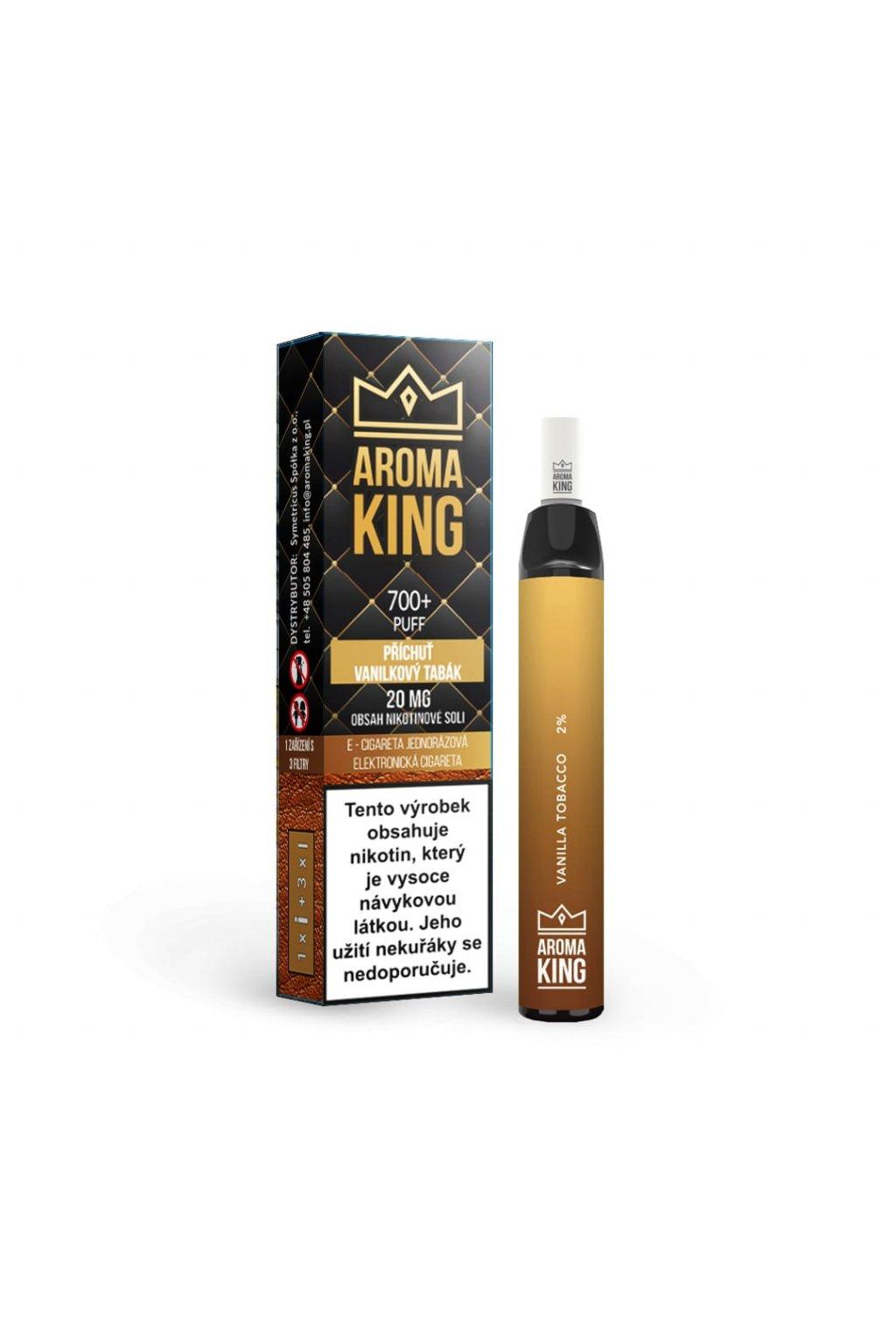 Aroma King jednorazova e cigareta vanilla tobacco hybrid 700 potahnuti min
