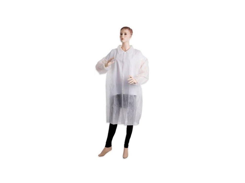 Jednorázový plášť s límečkem vel. L a XL - bílý 40 g/m2