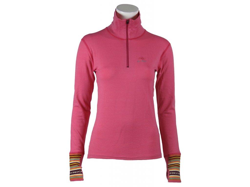 spodní triko Merino T-neck SKHOOP - rose