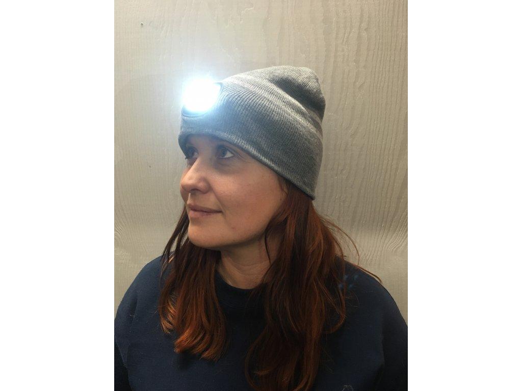 Čepice s LED čelovkou X-CAP - grey