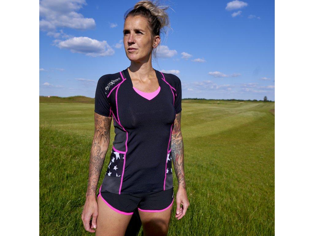 Dámské reflexní sportovní tričko Kinsej CRAZY - pink