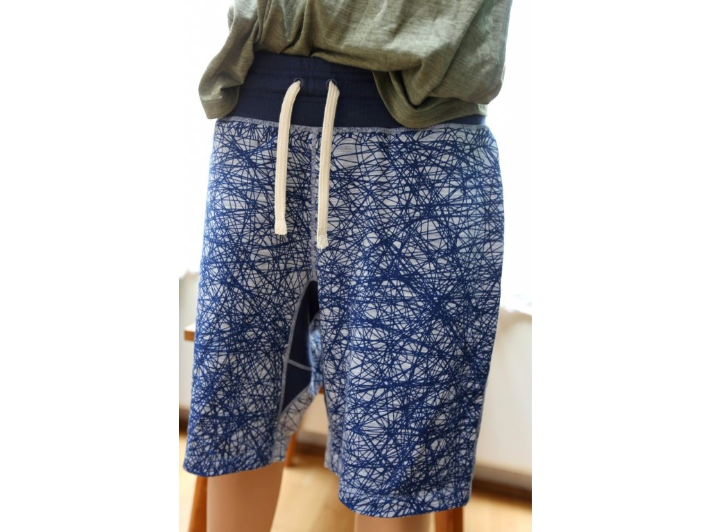 PÁNSKÉ MERINO ŠORTKY  M LEISURE SHORT PRINTED 220 [sn] - sketch cloud print/ocean deep /L