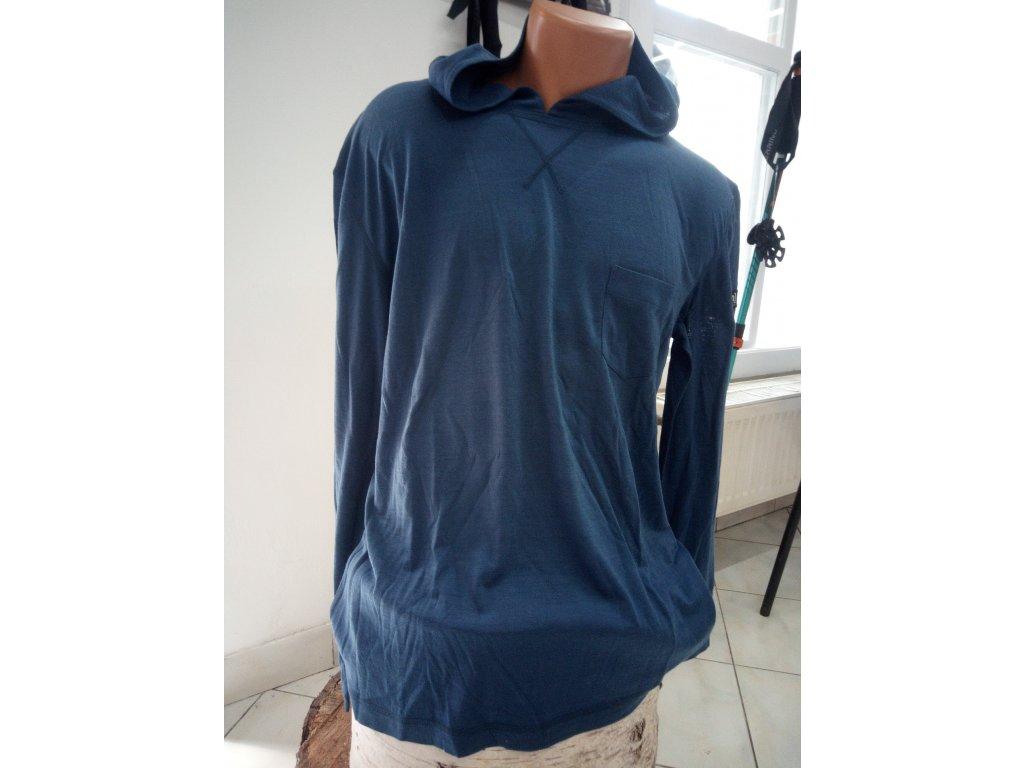pánské merino tričko s dlouhým rukávem a kapucou [sn] M SUMMER HODDIE - DARK DENIM /LL