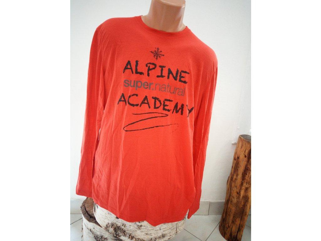 pánské merino tričko s potiskem a dlouhým rukávem M GRAPHIC LS - HIGH RISK RED / vel. L