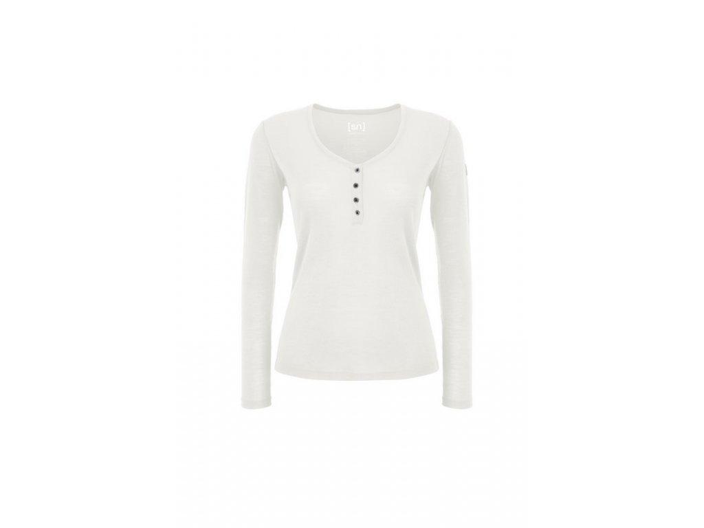 Dámské tričko s rozhalenkou Base Button Henley Rib 165 [sn] - latte