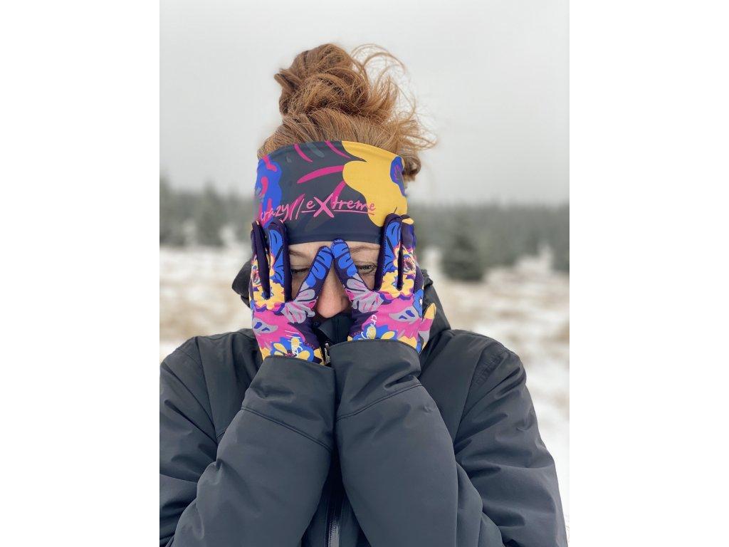 Zimní tenké sportovní rukavice Touche CRAZY - ocra-everbloom