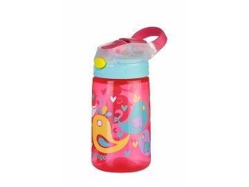 Dětská lahev s pítkem James Gizmo Contigo 420 ml - růžová s ptáčky
