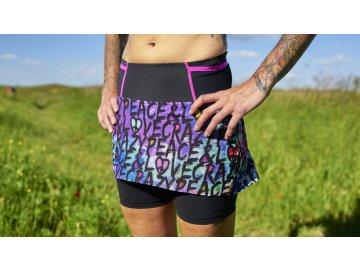 Lehá běžecká sukně s šortky Lightning Skort CRAZY - P&L black