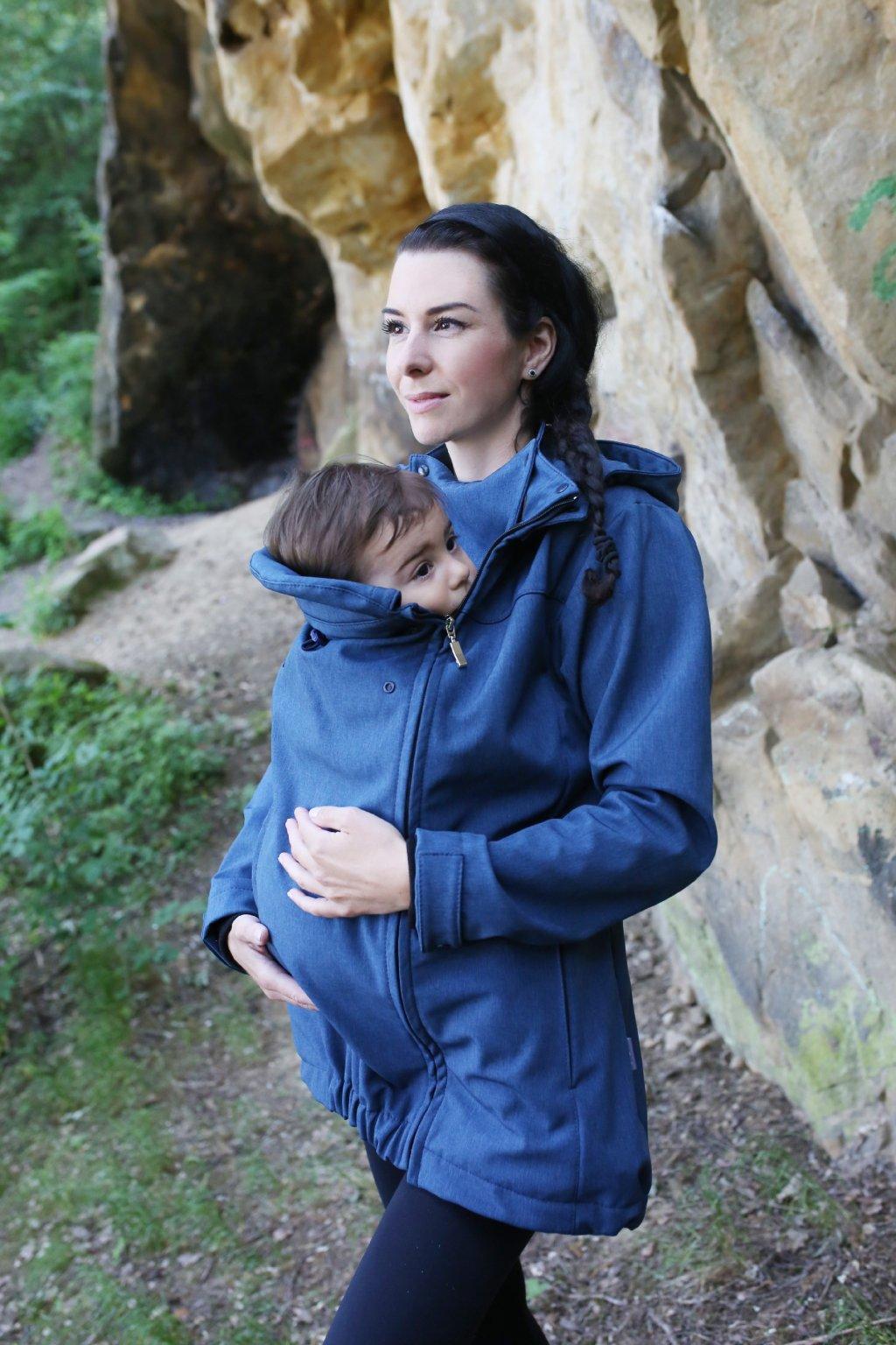 bunda na nošení dětí modrá, nosicí vsadka do bundy