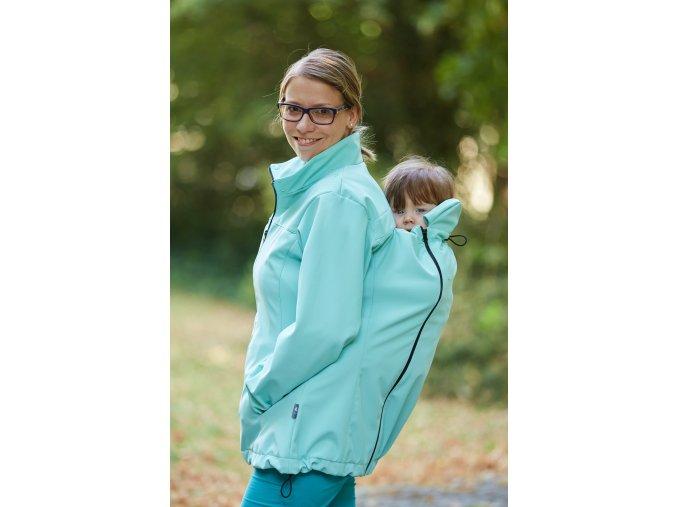 Nošení dětí na zádech - nosící bunda Gemini Mátová