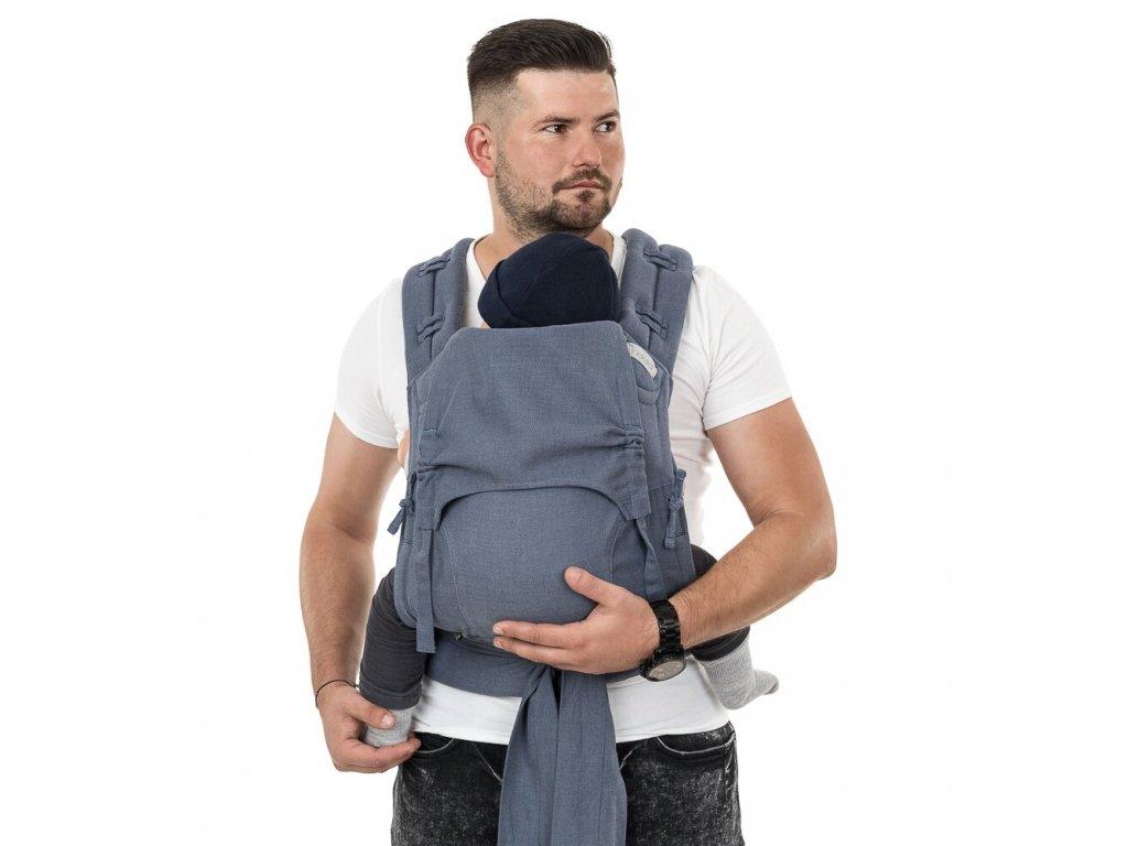flowclick half buckle babytrage chevron blau toddler