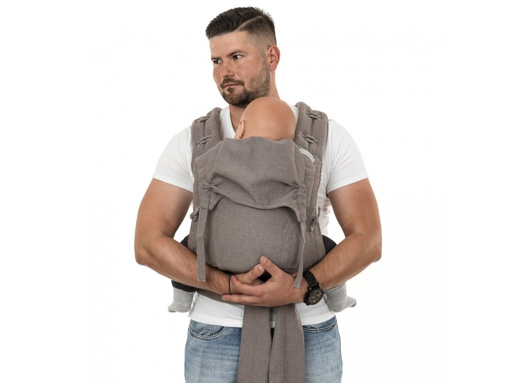 flowclick half buckle babytrage chevron walnussbraun toddler