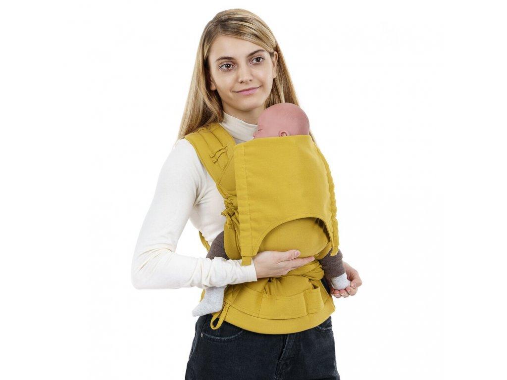 flyclick half buckle babytrage chevron senfgelb baby