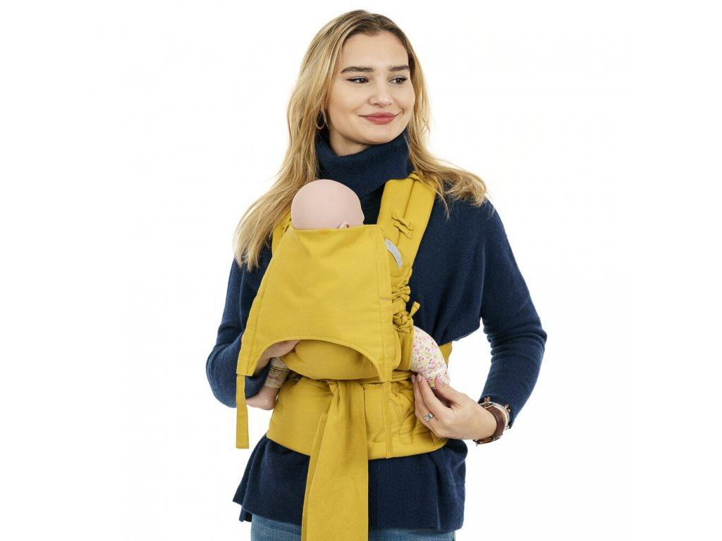 flowclick half buckle babytrage chevron senfgelb baby