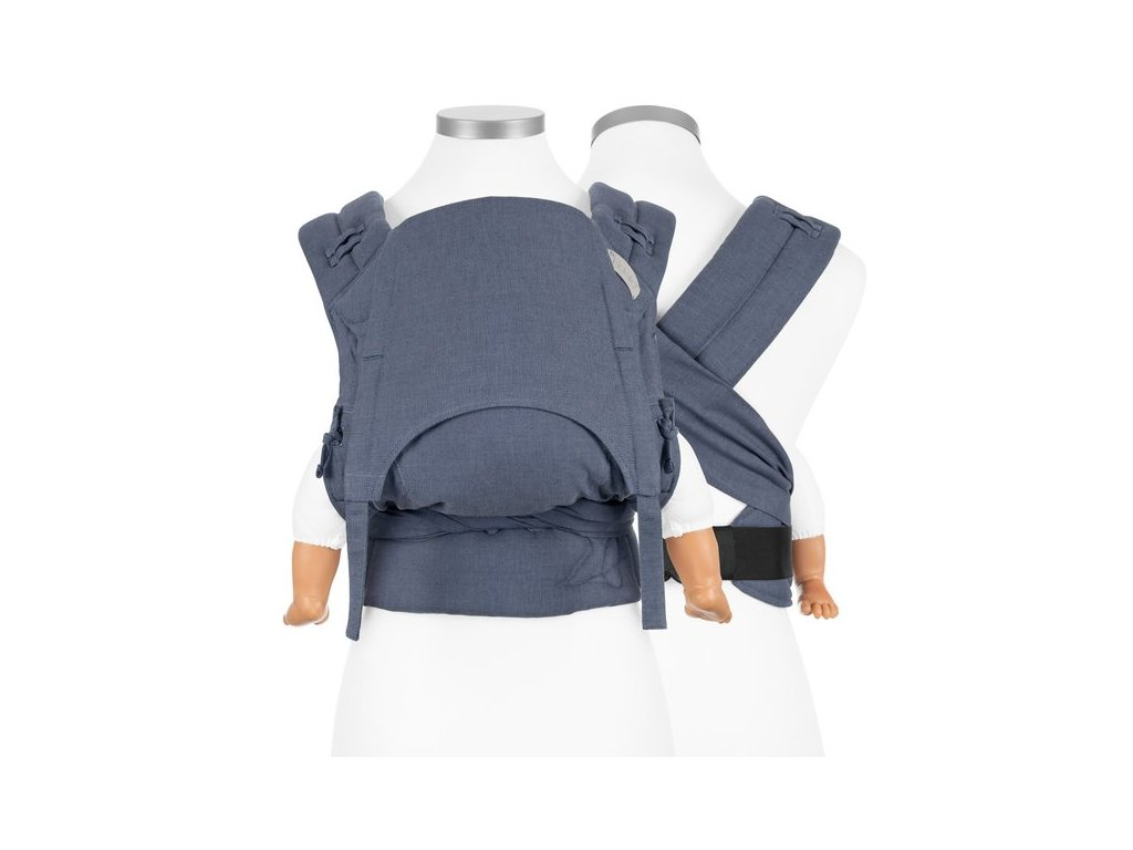 ergonomické nosítko fidella flowclick half buckle babytrage chevron blau baby