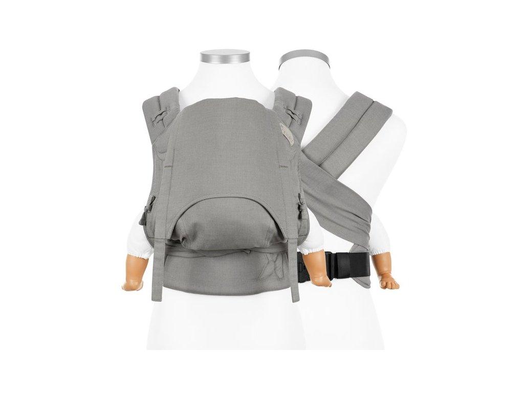 ergonomické nosítko fidella flowclick half buckle babytrage chevron hellgrau baby