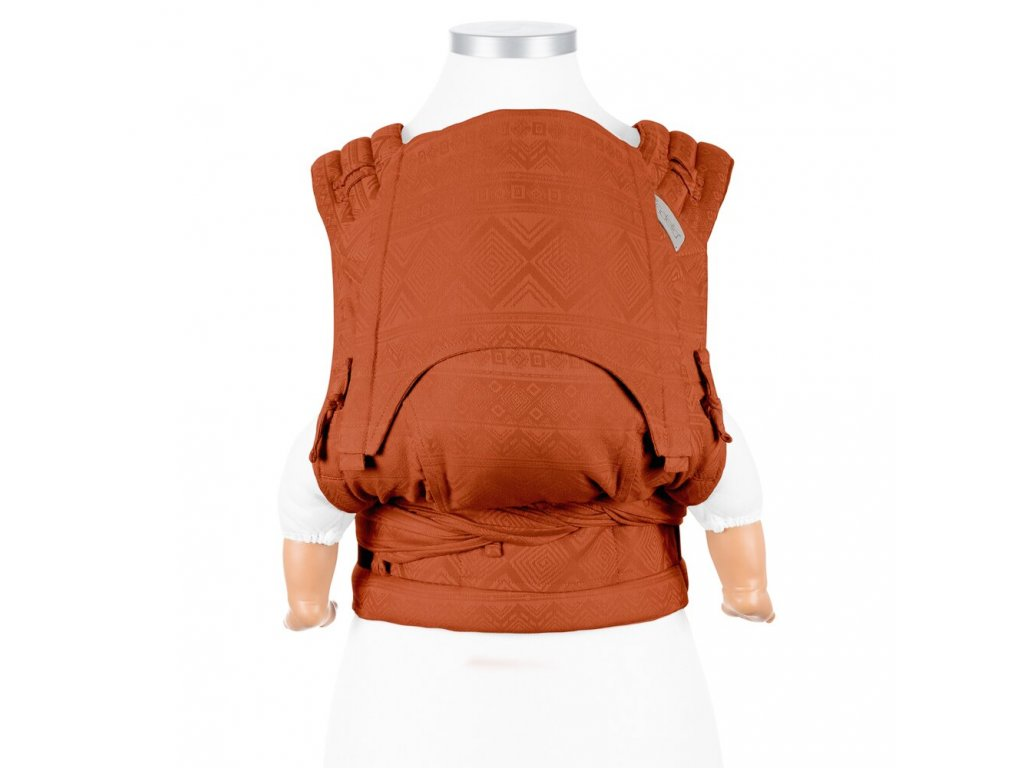 ergonomické nosítko fidella flyclick halfbuckle baby carrier cubic lines rustred baby