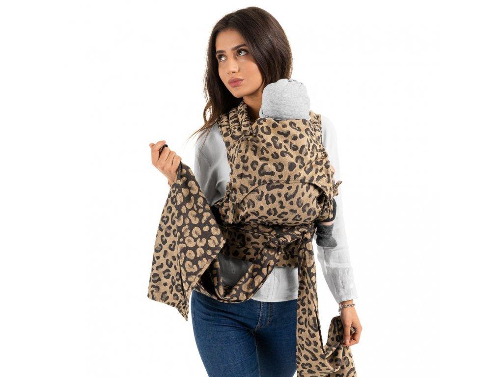 Ergonomické nosítko Fidella Fusion FlyClick Baby size Leopard Gold