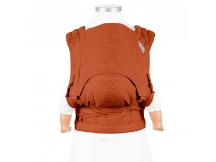 ergonomické nosítko fidella flyclick plus half buckle babytrage cubic lines rustred toddler
