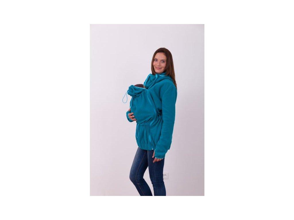 nina nosici fleece mikina s kapuci pouze pro predni noseni petrolejova (1)