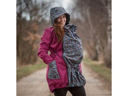 Jožánek Alva - Softshellová nosící bunda (Barva tmavě modrá a mandaly, Velikost S)