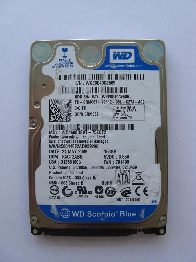 """Western Digital HDD 160 GB 2.5"""" SATA WD Scorpio"""