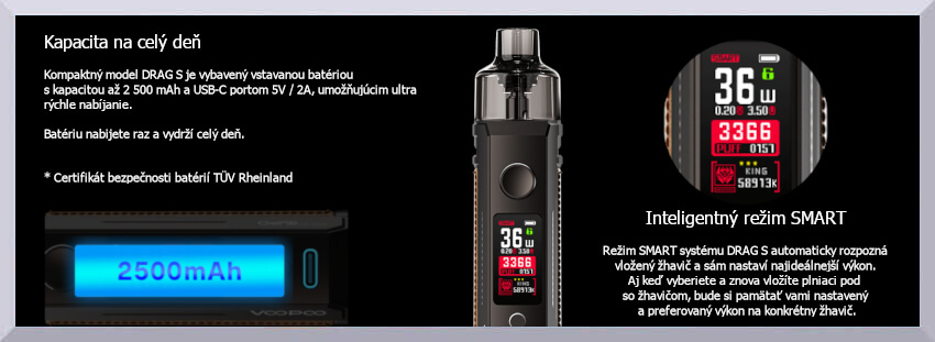 Banner Voopoo Drag S - kapacita batérie a režim Smart