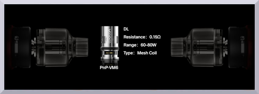 Banner - detail žhaviacej hlavy Voopoo PnP-VM6 s odporom 0,15 ohm