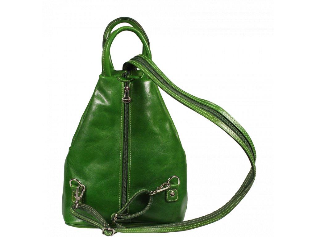 Zelený kožený batůžek Mea Verde