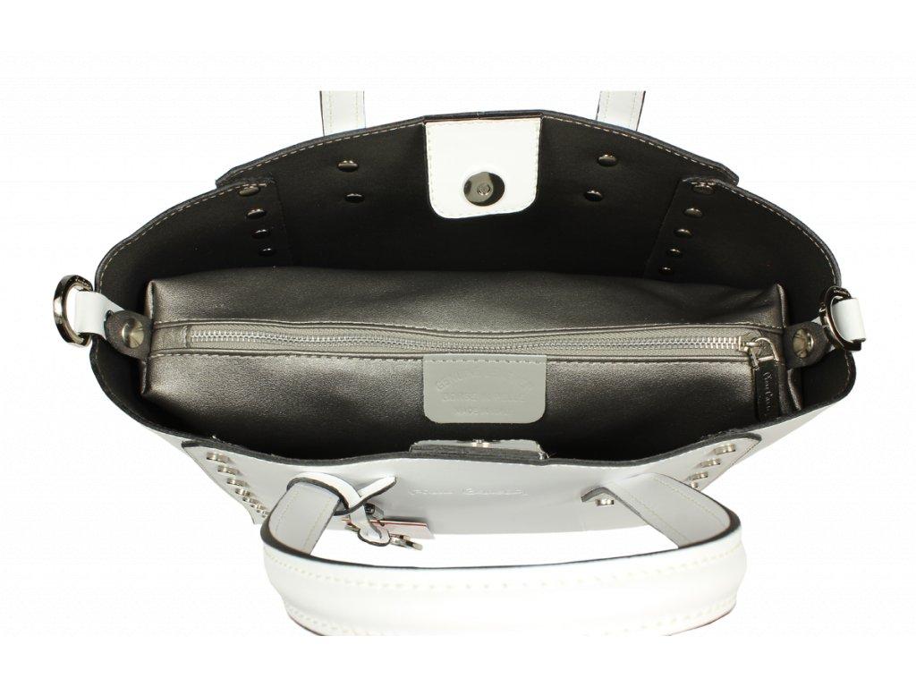 ... Italská kožená kabelka Pierre Cardin 1531 Ruga Bianco ... af1adb13009
