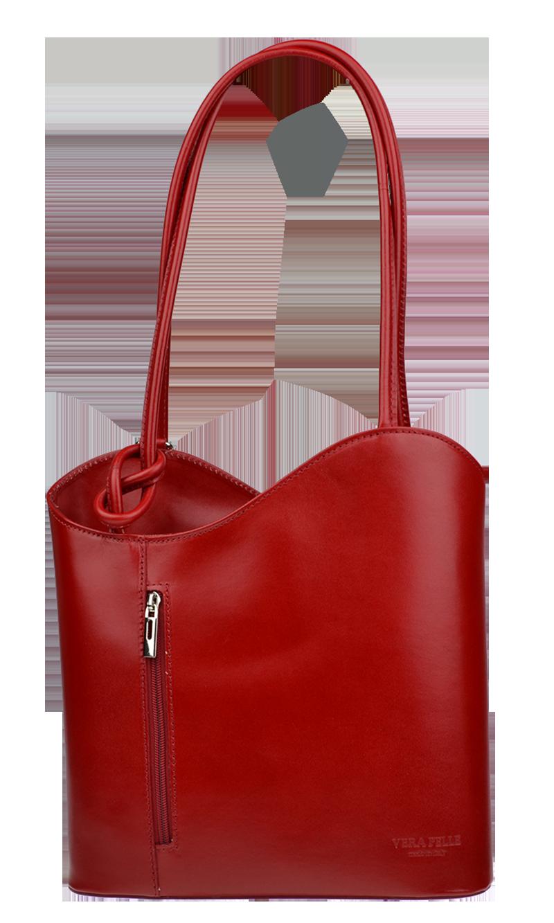 červené dámské kožené batohy Clarise Rossa červené dámské kožené batohy Clarise Rossa