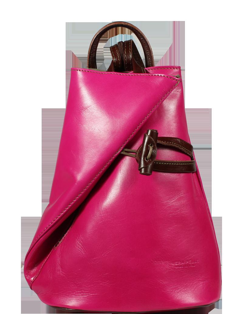 Kožený batůžek Nilde Fuxia Marrone