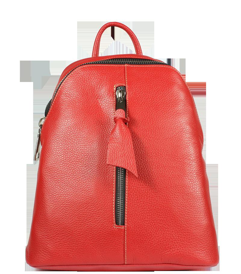Červený kožený batůžek Claudia Rossa