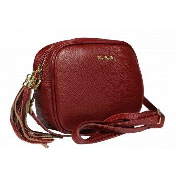 Malá kožená kabelka Pierre Cardin 1501 Dollaro Amaranto