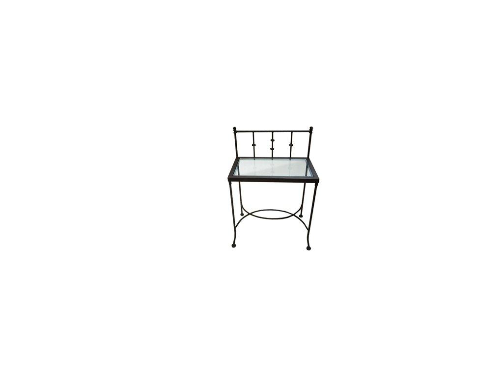 AMALFI nočný stolík - masívne železo a sklo (povrchová úprava biela)