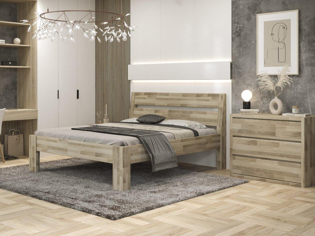 Kalliope posteľ z masívu dub (povrchová úprava olej prírodný (dub), Rozmery (šírka x dĺžka) 160 x 200 cm)