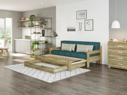 Rozkládací postel Alexa s područkami s úložným prostorem rozložená
