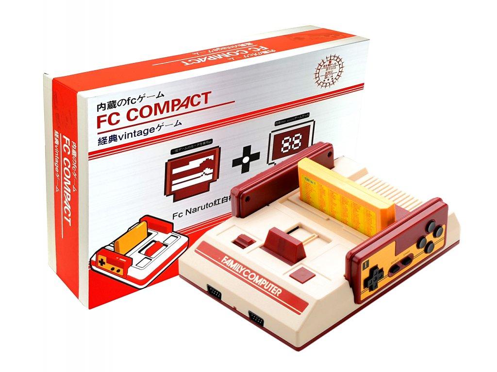 Televizní konzole FC Compact Pegasus stylizovaná na Famicom a kazeta s 632 hrami