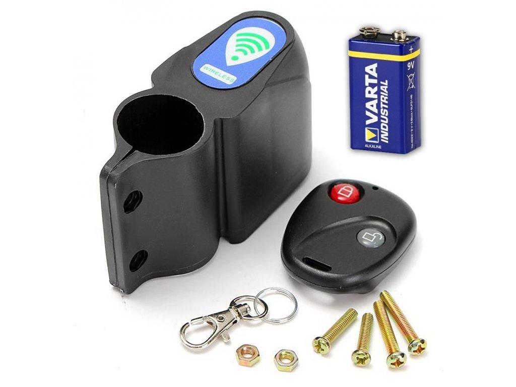 Alarm pro kolo skútr motorku koloběžku baterie dálkové ovládání