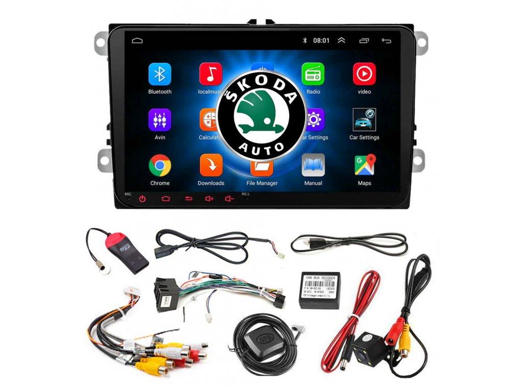 "Autorádio 2 DIN s displejem 9"" a systémem Android 8.1 GPS SKODA + kamera"
