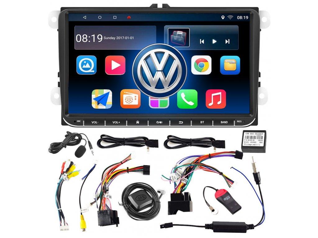 "Autorádio 2 DIN s displejem 9"" a systémem Android 10 GPS VW, SEAT, SKODA"