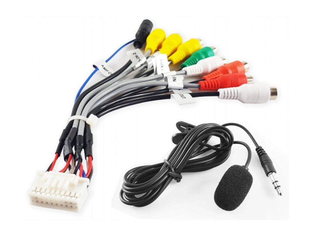 Multifunkční 20 PIN konektor pro autorádio se systémem Android se zdířkou pro mikrofon + externím mikrofonem