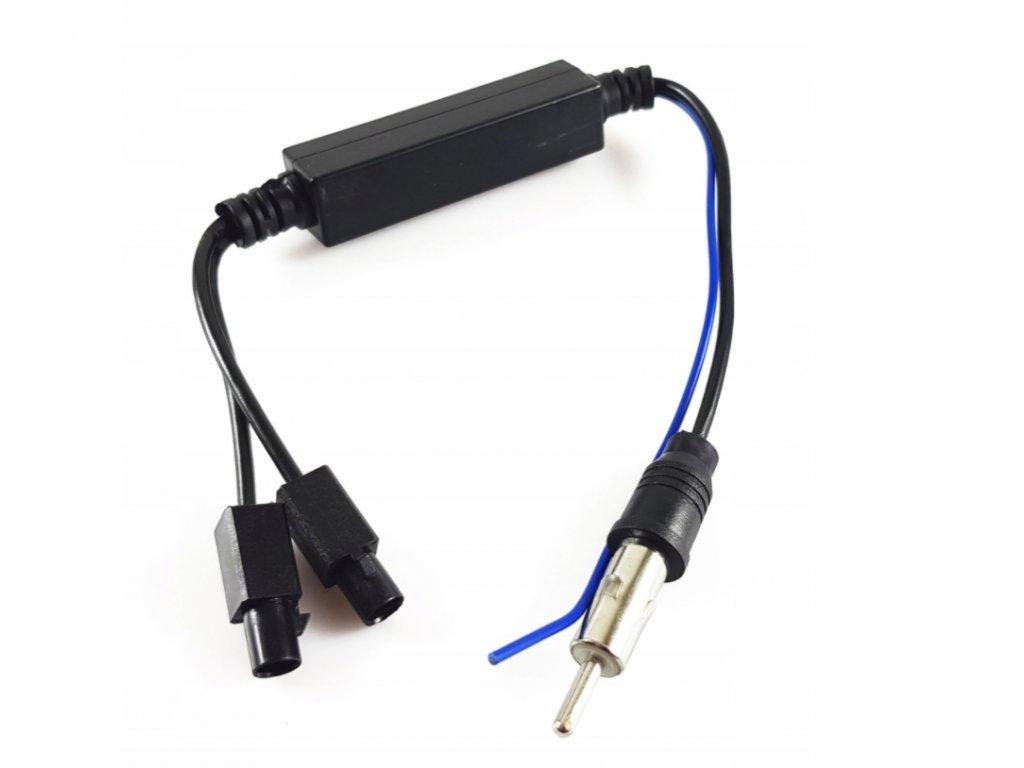 Slučovač napájení autoantény din a 2x  Fakra pro vozy se dvěma aktivními anténami např. VW, Seat a Škoda