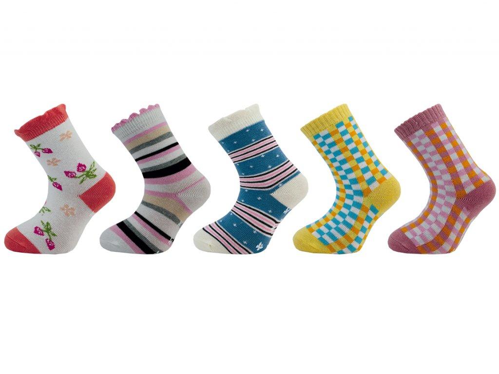 Dětské ponožky s protiskluzem  - balení 5 párů