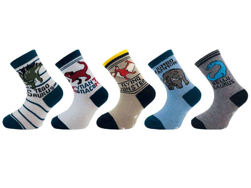 Dětské ponožky s protiskluzem T-REX  - balení 5 párů